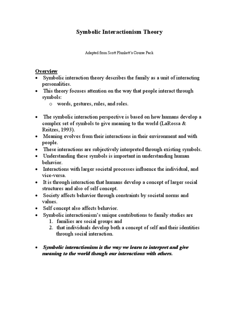 Symbolic Interactionism Theorynote Self Semiotics