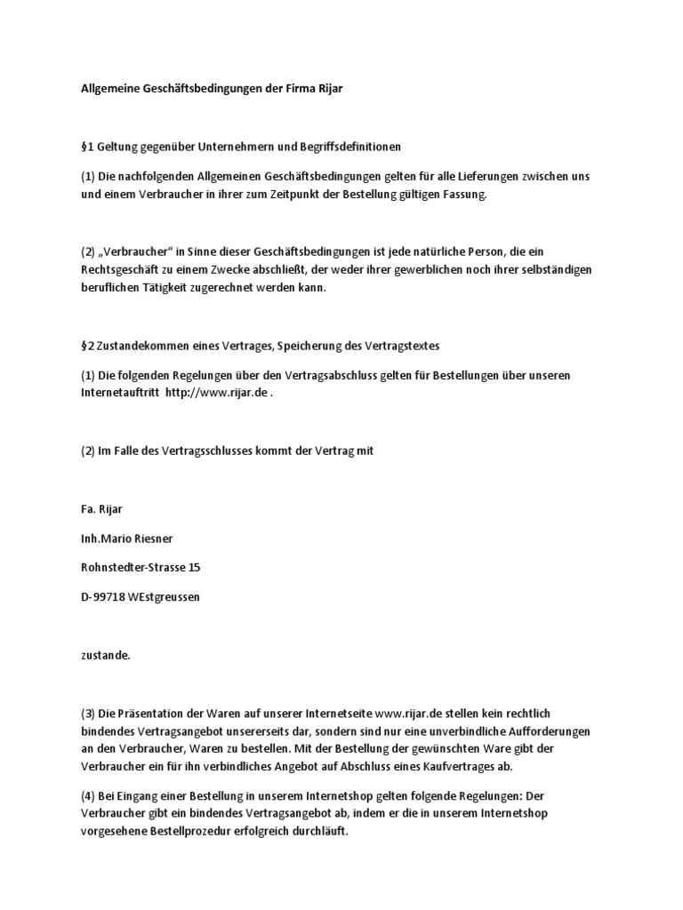 Allgemeine Geschäftsbedingungen Der Firma Rijar
