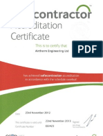 Airtherm Safecontractor Certificate