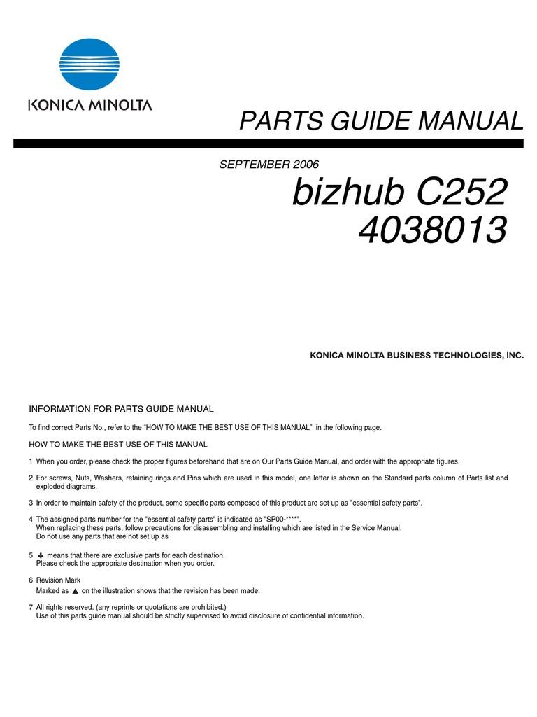 bizhub c252 parts manual rh scribd com bizhub 250 parts guide bizhub 250 parts manual