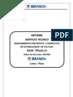 Informe Servicio de Manmtenimiento Estabilizador -Sede Trujillo