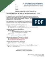 Calendario lectivo 2013 - Rectificación UTU