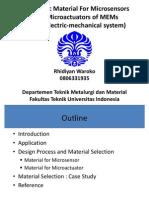 Electronic Material for Microsensors and Microactuators of MEMs.