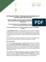 Modificaciones del Servicio de Transporte Urbano Comarcal 2013