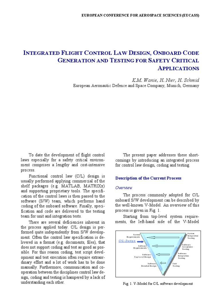 INTEGRATED FLIGHT CONTROL LAW DESIGN, ONBOARD CODE