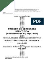 Modelul Privind Redactarea Proiectului de Cercetare
