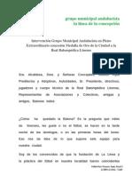 Discurso de Ángel Villar Pleno Medalla de Oro a la Real Balompédica Linense