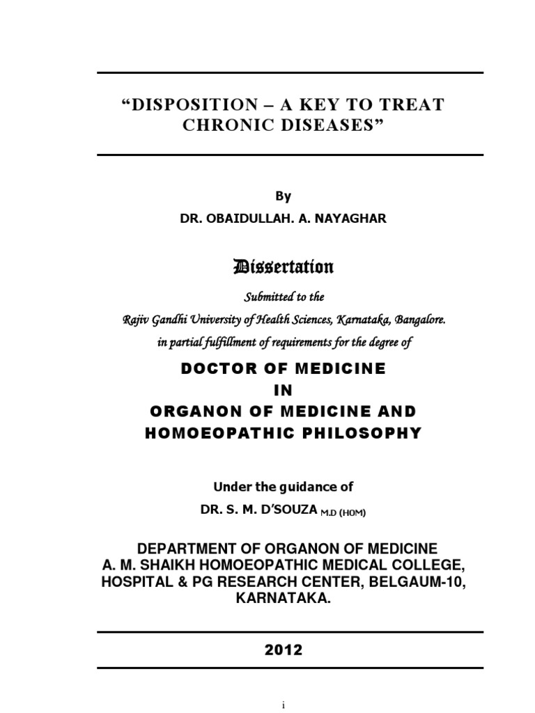 Disposition Homoeopathy Doctor Of Medicine Thesis