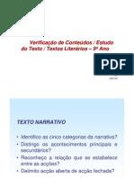 Verificação de Conteúdos - Estudo Do Texto - 9ºAno