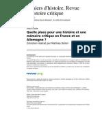 Chrhc 654 100 Quelle Place Pour Une Histoire Et Une Memoire Critique en France Et en Allemagne