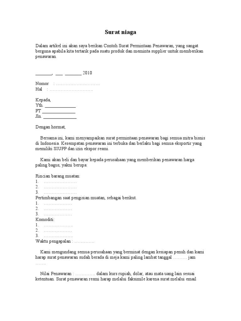 Contoh Surat Permintaan Penawaran Harga