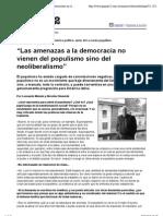 """Vista previa de """"Página-12 -- Dialogos -- """"Las amenazas a la democracia no vienen del populismo sino del neoliberalismo"""""""""""