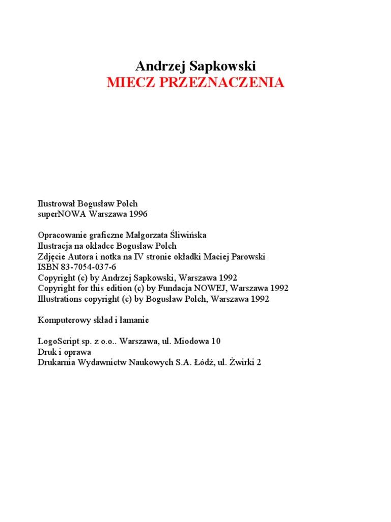 miecz przeznaczenia pdf