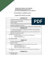 calendário acadêmico Ufs 2012/2