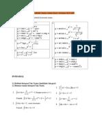 Berikut Adalah Rumus Integral, Diferensial Dan Trigonometri