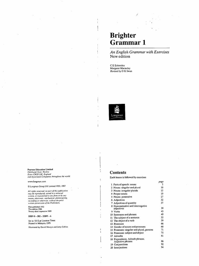 Brighter grammar book 1 by c. E. Eckersley.
