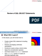 1. Review of SQL SELECT Statements
