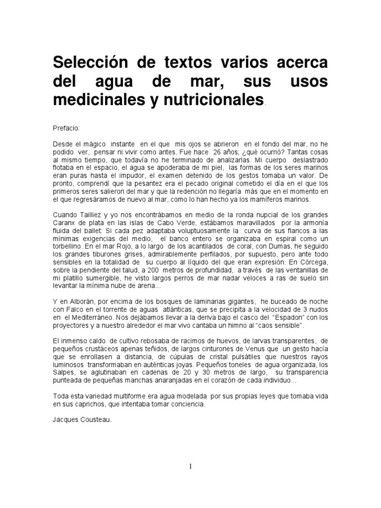 Seleccion Textos Agua Mar