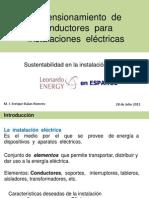 Dimensionamiento  de conductores  para instalaciones  eléctricas