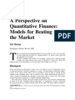 A Perspective on Quantitative Finance: Models for Beating the Market