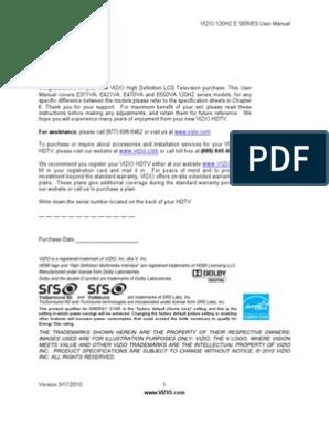 Vizio 120HZ E Series User Manual | Hdmi | Set Top Box