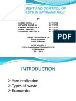 'ASSESSMENT AND CONTROL OF HARD WASTE IN SPINNING MILL'
