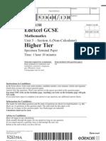 GCSE Maths 320326 Unit 3 Higher Section a Nov 2007(specimen)