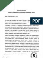 Carta al Presidente del Parlamento de Andalucía