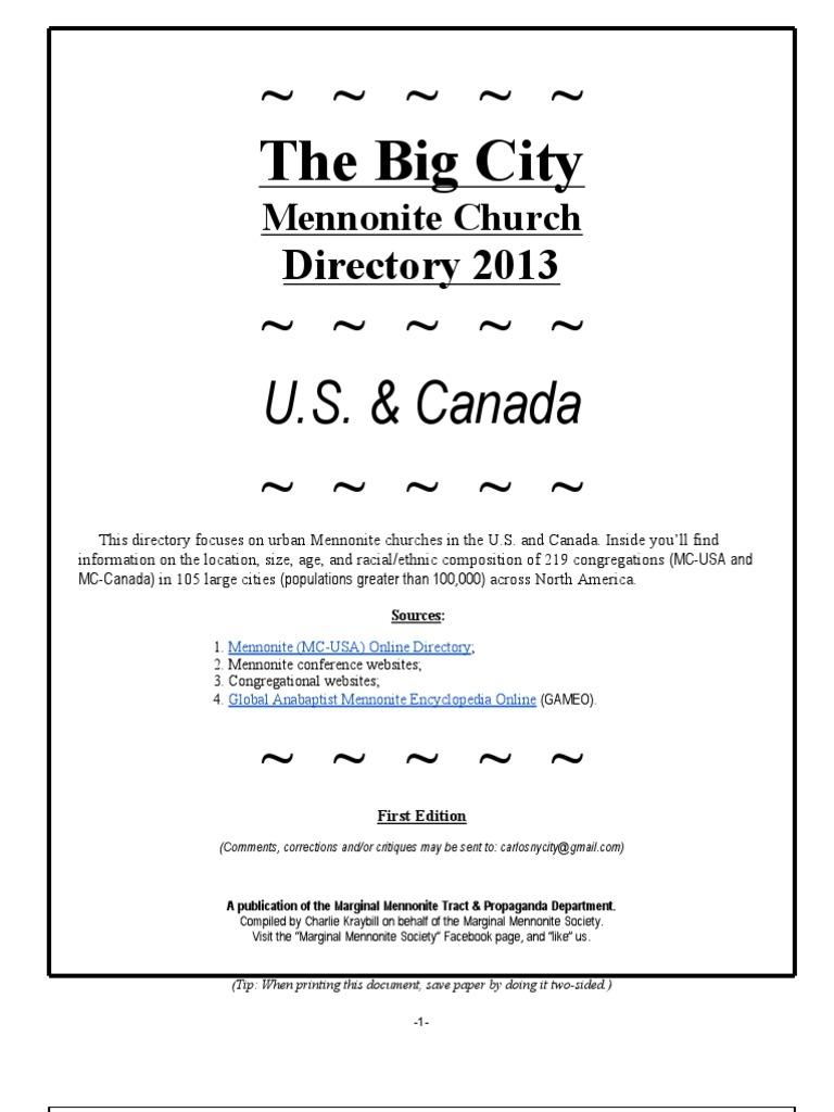 Big City Mennonite Church Directory 2013 | Texas | Pennsylvania