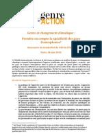 Genre Et Changement Climatique Prendre en Compte La Specificite Des Pays Francophones - CV Pour GeA