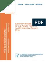 Summary Health Statistics for U.S. Adults