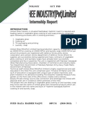 Internship Report United ghee industry (UIL) or Kashmir Ghee