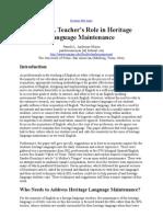 The ESL Teacher's Role in Heritage Language Maintenance