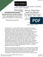 China Pakistan And the Bomb