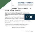 Comunicado Receso Codicen