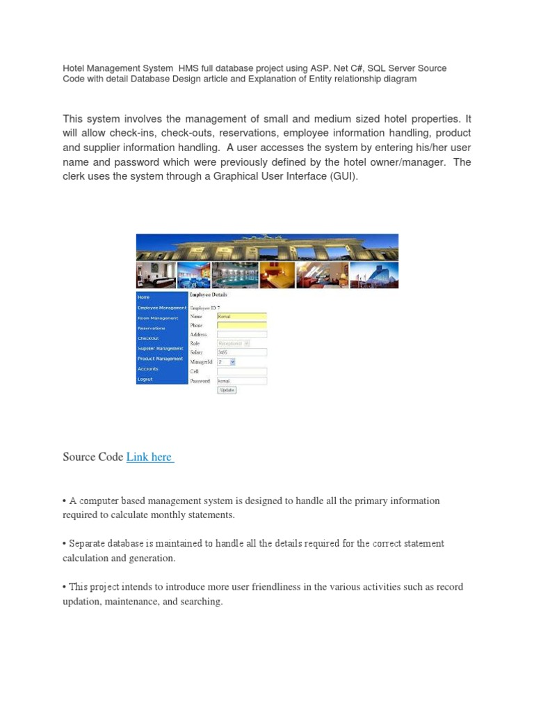 Hotel Management System Full With Tabels | Bases de datos