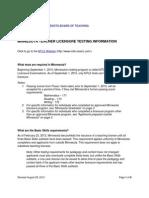 Minnesota Teacher Licensure Testing Information Revised 8.28.12