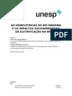 As hidrelétricas do rio madeira e os impactos socioambientais da eletrificação no Brasil