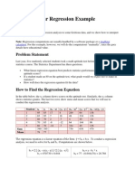Calculations of regression equation