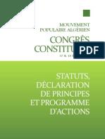 Statuts, déclaration de principe et programme d'action