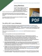 Why APA is Losing Members 2012