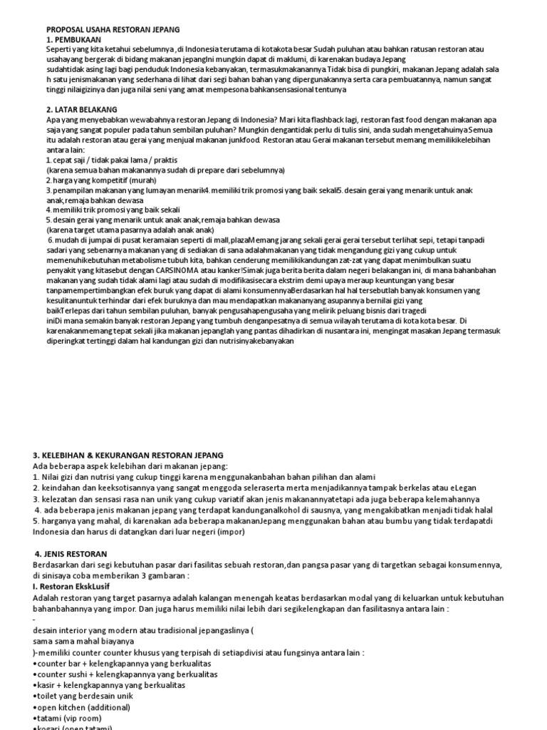 Pdf Contoh Proposal Usaha Bisnis Cafe Tomi Regal Academia Edu