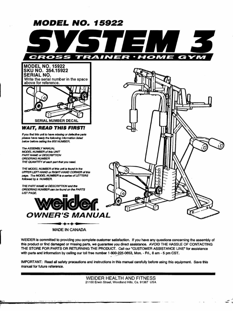 Weider system 3 15922 manual nut hardware screw pooptronica Image collections