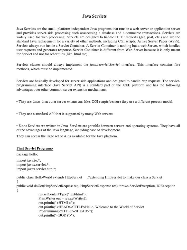 Servlet Class Notes   Java Servlet   Java (Programming Language)