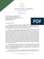 Governor McDonnell letter to Secretary Sebelius