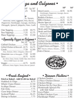 Toula's House of Pizza and Seafood Menu