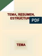 Tema, Resumen, Estructura