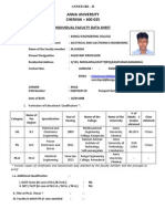 Anna University Individual Faculty Profile Data Sheet