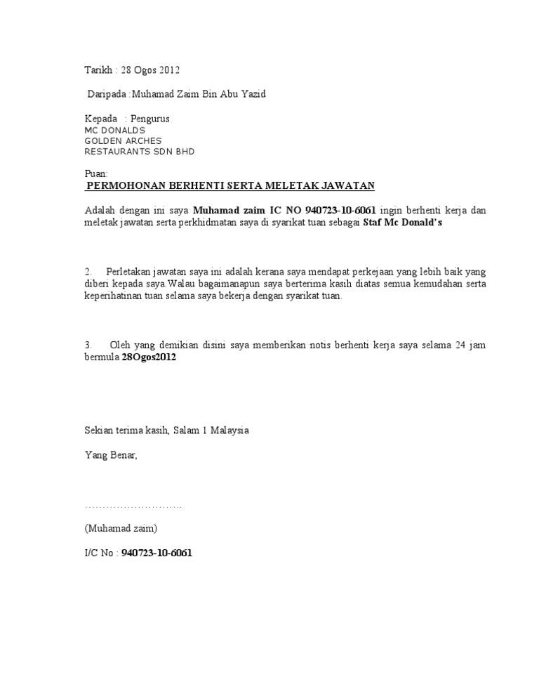 Contoh Surat Berhenti Kerja 24 Jam Bahasa Melayu Doylc Asia