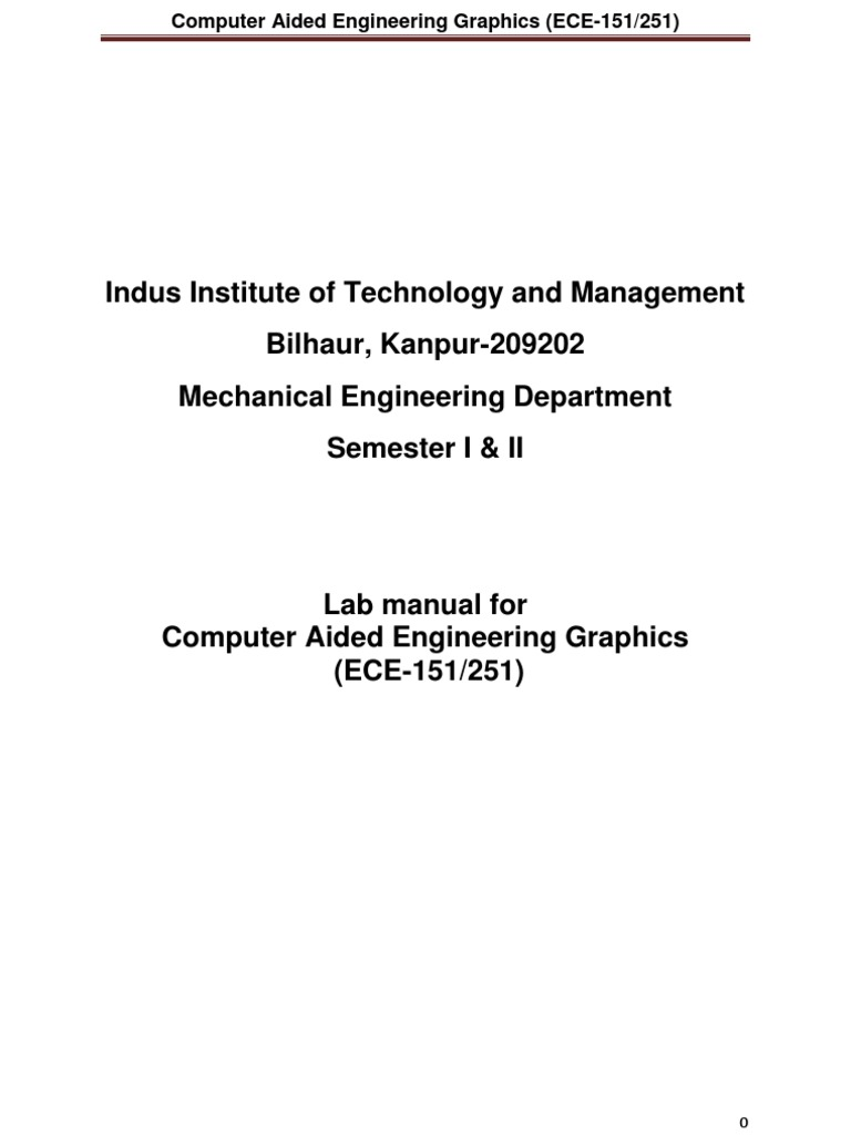 Lab Manual Computer Aided Engineering Graphics ECE 151-251 | Technical  Drawing | Computer Program